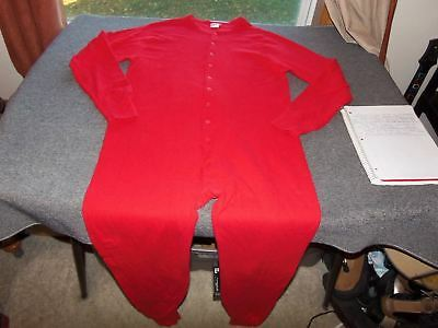 Vintage LL Bean Red Unionsuit XL  Two Layer Wool Blend USA Made Union Suit