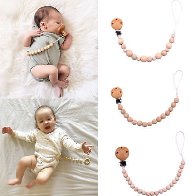 Wooden Beaded Pacifier Holder Clip Nipple Teether Dummy Holder Chain for Baby x