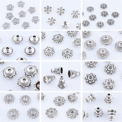Lots Tibetan Silver Metal Loose Bead Caps Multi-size DIY Jewelry Findings