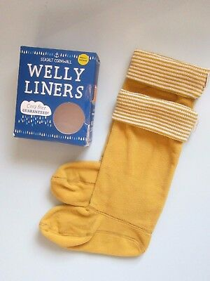SEASALT Knitted Welly Liners Socks Small / Medium Mustard