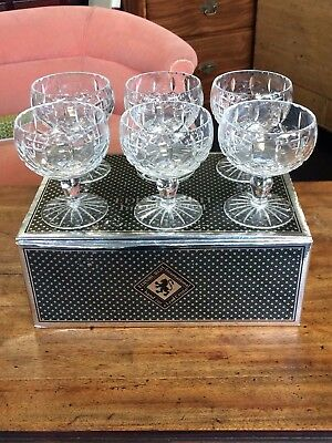 Set Of 6 Hand Cut Edinburgh Crystal Champagne / Cocktail Glasses