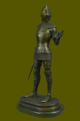 Handmade Bronze Statue Marble Medieval Middle Ages Knight Warrior Sculpture