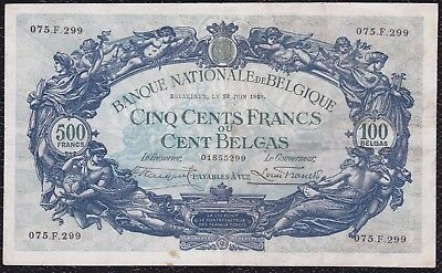 500 Francs or 100 Belgas from Belgium 22.6.28 G5