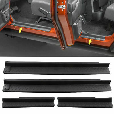 4x ABS Door Sill Guard Scuff Plate Step Protector For Jeep Wrangler 07-16