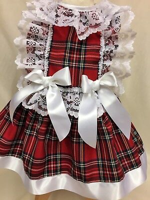 Dream Girls Spanish Aw17 Royal Red Stewart Tartan Lined Dress 6 Months - 7 Years