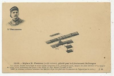 Cpa Pk Ak Avion Aviation Lieutenant Bellenger Sur Biplan H.farman