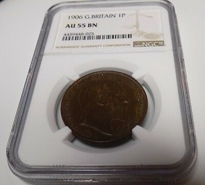 GREAT BRITAIN 1906 PENNY NGC AU55 BN AU 55 England English Certified UK Coin