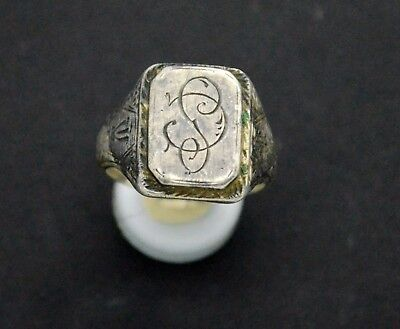 Medieval period Silver ring with inicials 18-19 century