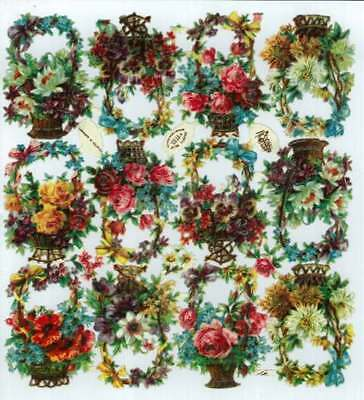 Large sheet Victorian Die Cut Scraps, Baskets of Flowers, Raphael Tuck   J32