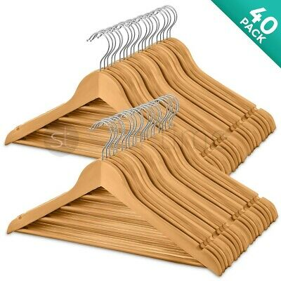 40 Wooden Coat Hangers Suit Trouser Garments Clothes Coat Hanger Bar Wood New UK