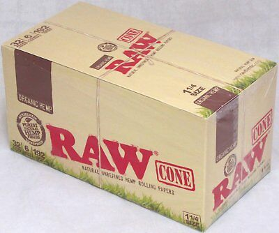 "RAW Organic Hemp Pre-Rolled Cones 1 1/4"" Rolling Papers Box 32 Packs 192 Cones"