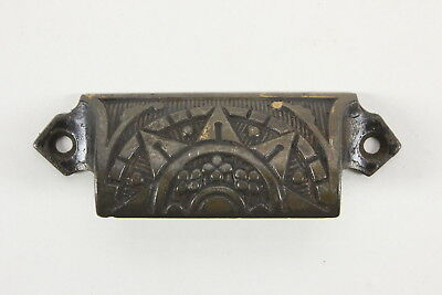 1 Eastlake Style Vintage Bin Drawer Pull Star Design Salvaged Hardware Cast Iron