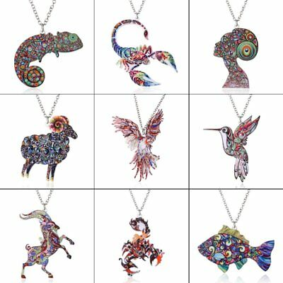 Chic Fish Bird Animal Printing Pendant Necklace Women Jewelry Mother's Day Gift