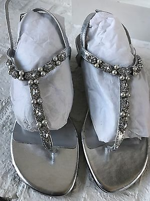 e4b7a5a1755 Womens Dyeables Silver Low Wedge Sandals Rhinestone Dressy Myra Size 7  EASTER
