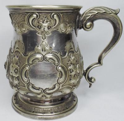 Antique Repousse Chased R Hodd London Silver Plate English Pint Tankard Mug Cup