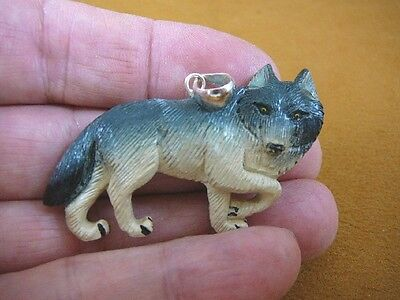 (j-wolf-40) painted WOLF walking aceh bovine bone carving pendant JEWELRY coyote
