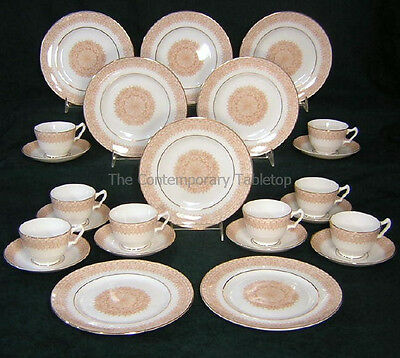 CROWN STAFFORDSHIRE 24 pc CLASSIC Bone China Service Set/ 8 cup saucer trios