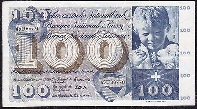 100 Francs from Switzerland 1964 Xf+ G5