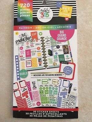 Create 365™ The Big Happy Planner™ Rainbow Value Pack Stickers 720 NEW