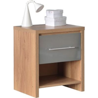 New 1 Drawer Bedside Cabinet Light Oak Veneer and Grey High Gloss Table Chest