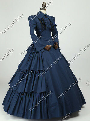 Gothic Victorian Edwardian Dress Gown Punk Period Theater Clothing NAVY N 007