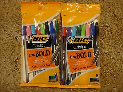 2 ~ Bic Cristal Xtra-Bold Pens ~ 8 Assorted Fashion Colors Free Shipping