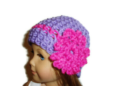 """Crochet Hat Fits American Girl Dolls 18"""" Doll Clothes Purple w/ Hot Pink Flower"""