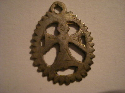 Antique  Rare Awesome Medieval Silver Medal Tau Letter Knight Templar Crusader