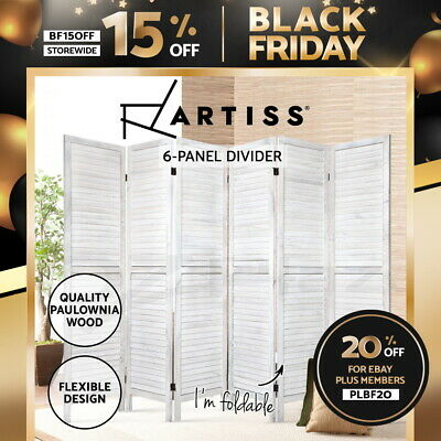 Artiss 6 Panel Room Divider Screen Bed Privacy Wood Foldable Stand Timber White