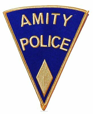 """Jaws Movie Amity Police Shoulder Logo Yellow Shield 5"""" Tall Embroidered Patch"""