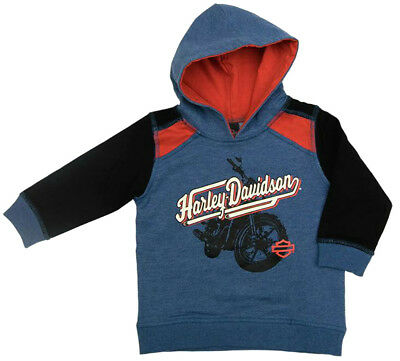 Harley-Davidson® Toddler Boys French Terry Pullover Lined Blue Hoodie 6564703