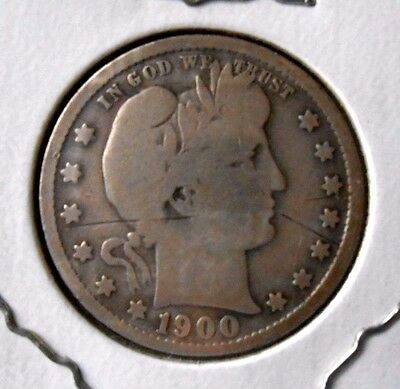 1900-S Barber Quarter Dollar Coin Nice Worn Circulated Coin Some Scratches