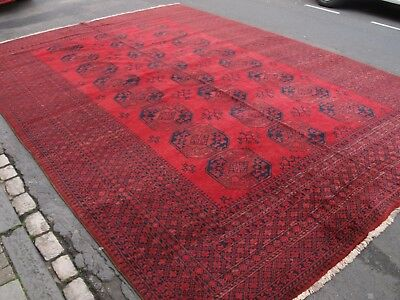 Old Afghan Village Carpet Of Exceptional Large Size, Great Colour And Condition.