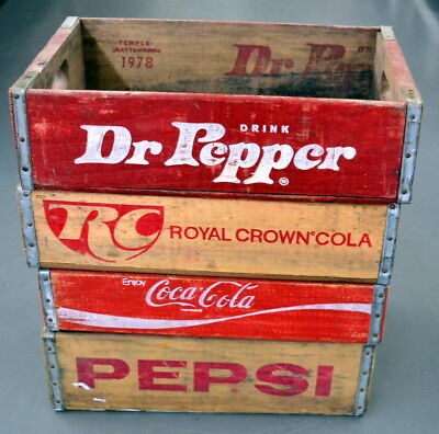Lot of 4 Vintage SODA Wood BOTTLE CASES - Dr Pepper - RC - Pepsi - Coca-Cola