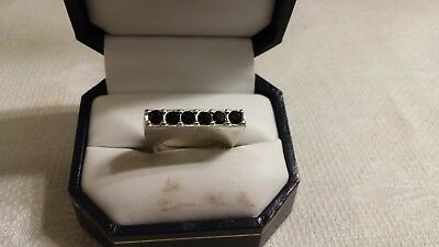 Vintage Silvertone Metal Black Crystal Modern Channel Setting Ring Size 7