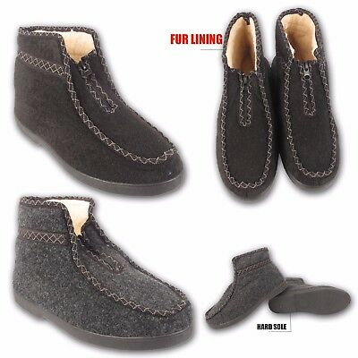 Mens Ladies Slippers Womens Ankle Fleece Fur Warm Lined Winter Boots Shoes Sizes
