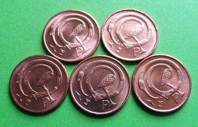 Lot Of Five Irish Decimal Half Penny Coins Minted 1971 Ireland First Year Issued