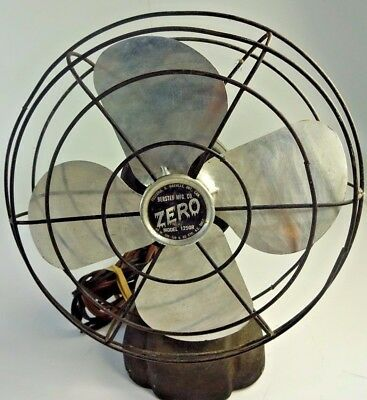 Old Vtg ZERO METAL FAN McGRAW ELECTRIC BERSTED Model 1250R Wall Mount or Table