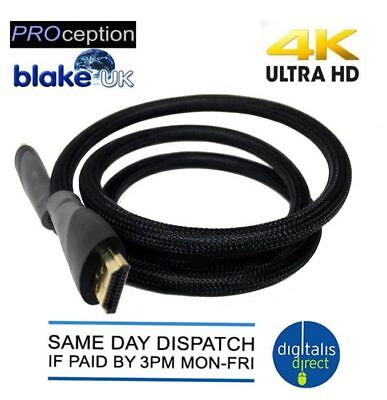 Premium HDMI Cable v1.4 High Speed 3D 4K Ultra HD 2160p Video Lead 1M Blake UK