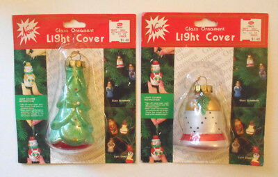 Unused vtg Glass Christmas ornament Light Covers -TREE & BELL in package