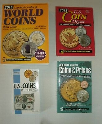 4 books: 2015 Standard Catalog of World Coins 2001-Date / Digest / North America