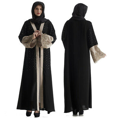 Hot Muslim Eid Abaya Kaftan Dubai Muslim Islamic Ethnic Dress Women Black Robe