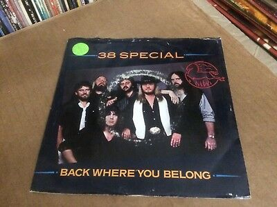 """38 Special Back Where You Belong Pic Sleeve With Vinyl 45 7""""  P"""