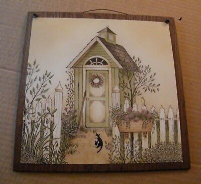 Green Outhouse  cat Bathroom country primitive floral Bath wall home decor sign