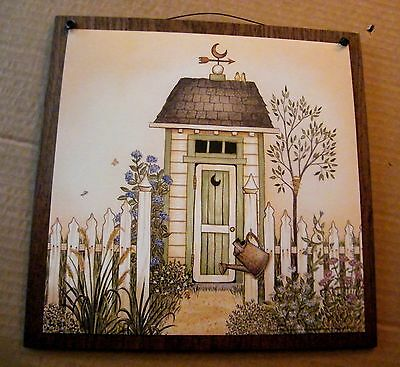 Green Outhouse wood Bathroom country primitive Bath wall home decor sign