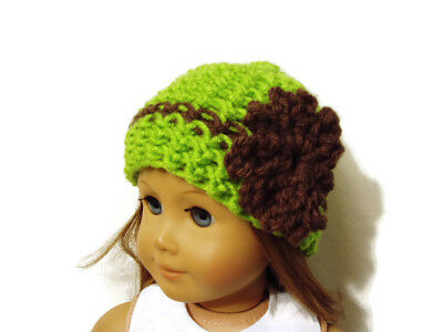 """Crochet Hat Fits American Girl Dolls 18"""" Doll Clothes Green w/ Brown Flower"""