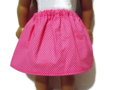 """Pink w/ white polka dots Skirt fits American Girl 18"""" Doll Clothes"""