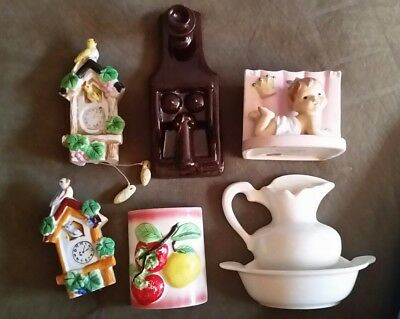 Lot of 6 Vintage Ceramic Wall Pockets Japan