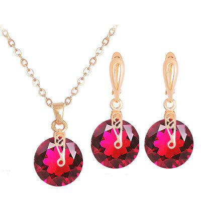 Fashion Women Jewelry Set Gold Plated Chain CZ Crystal Pendant Necklace+Earrings