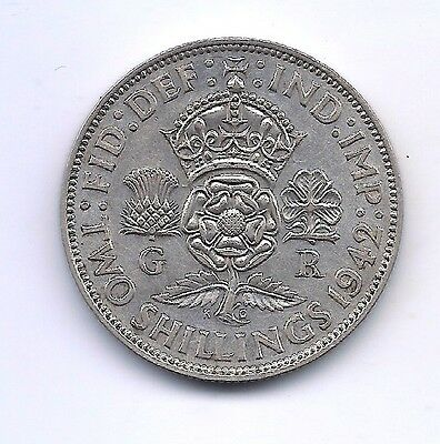 1942 Great Britain Silver Two Shillings--Fabulous Details !!
